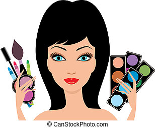Young beautiful woman with decorative cosmetics in hands