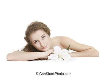 young beautiful woman with flower over white