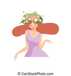 Young Beautiful Woman with Flower Wreath in Her Hair, Portrait of Happy Elegant Girl with Floral Wreath Vector Illustration