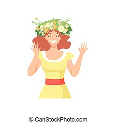 Young Beautiful Woman with Flower Wreath in Her Hair, Portrait of Happy Smiling Girl with Floral Wreath Vector Illustration