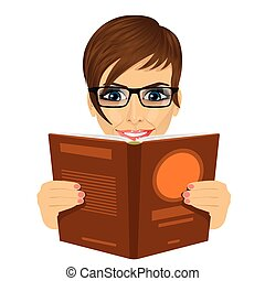 young beautiful woman with glasses reading a book