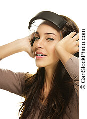 young beautiful woman with headphones on white background