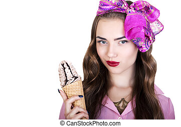 Young beautiful woman with ice cream on a white background
