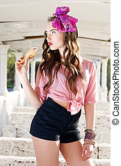 Young beautiful woman with ice cream