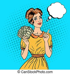 Young Beautiful Woman with Money Dreaming About how to...