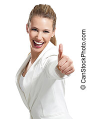 young beautiful woman with thumbs up on white