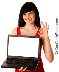 Young beautiful woman working on laptop