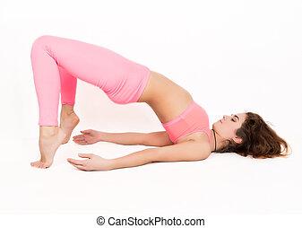 young beautiful woman yoga posing in asana.