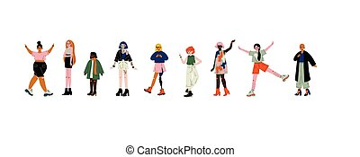 Young Beautiful Women of Different Appearances Set, Female Characters, Self Acceptance, Beauty Diversity, Body Positive Vector Illustration