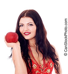 Young beautiful women with red apple in her hand