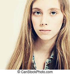 Young Beauty. Cute Girl. Teen Fashion Model. Healthy Skin. Fair Hair
