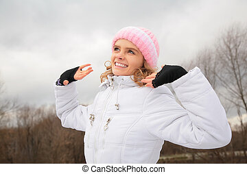 young beauty girl outdoor in winter