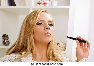 girl with e-cigarette - young beauty girl with e-cigarette