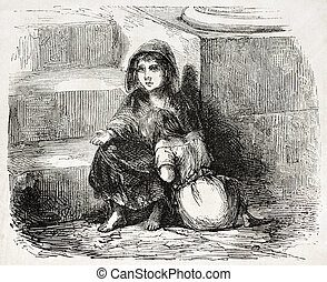 Young beggars - Old illustration of two young beggars. ...