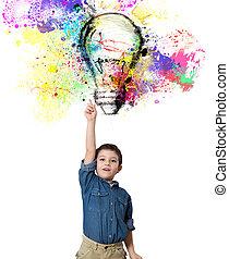 Young big idea - Child indicates a big colored bulb designed