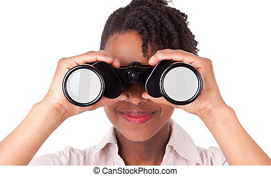 Young black / african american business woman using binoculars