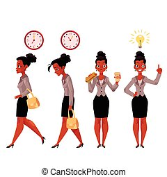 Young black, African American businesswoman in various business situations
