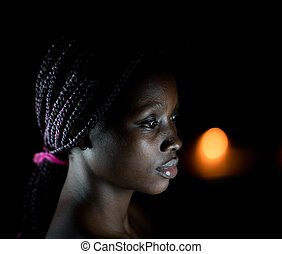 Young black African American woman portrait indoors