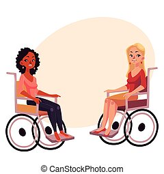 Young black and caucasian women in wheelchairs, equal opportunities concept