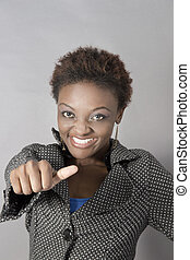 Young Black Business Woman showing thumbs up