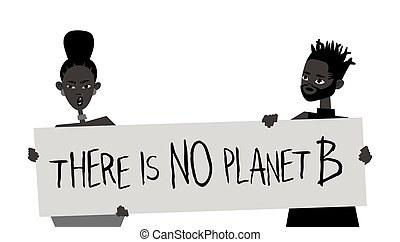Young Black Character with Poster. Cartoon Style People and Ecology Protest Board. Isolated Person and Banner. Flat Illustration African American Face. Hand Drawn Vector Drawing