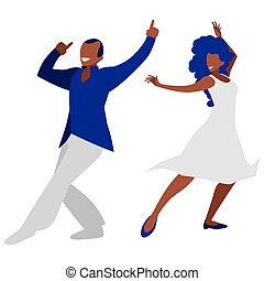 young black couple dancing characters