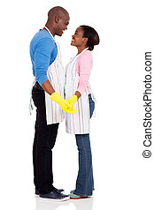 young black couple looking at each other