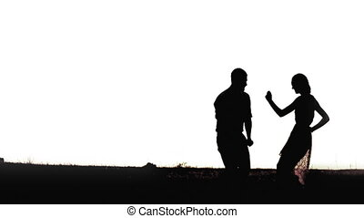 Young black couple silhouettes