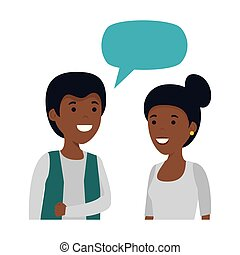 young black couple with speech bubble characters