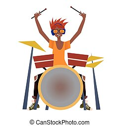 Young black man playing drum set. Drummer, musician. Vector illustration, isolated on white background.