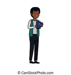 young black man with tea cup