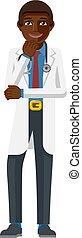 Young Black Medical Doctor Cartoon Mascot