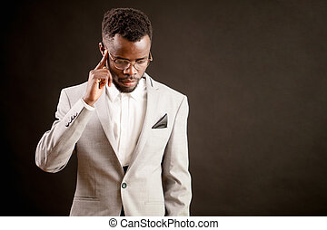 young black model thinking about his broblems. concept of...