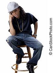 Young Black Woman Baseball Cap Shirt Jeans