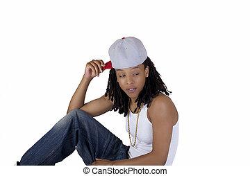 Young Black Woman Baseball Cap White Shirt
