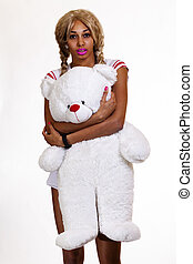 Young Black Woman Blond Wig Holding Teddy Bear