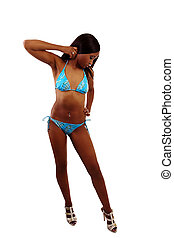 Young Black Woman Blue Bikini White Heels
