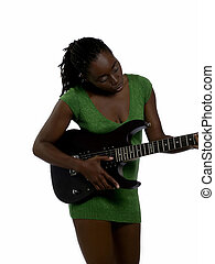 Young black woman green dress with guitar