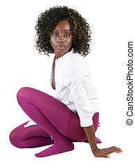 Young black woman in purple tights white shirt