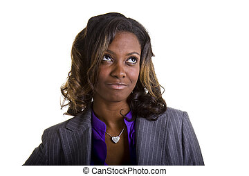 Young Black Woman in Suit Looking Up