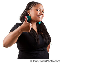 Young black woman making thumbs up - Portrait of happy ...