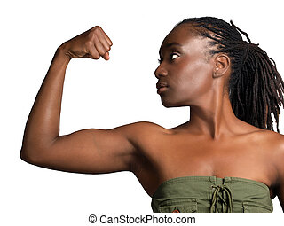 Young black woman profile showing biceps