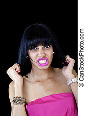 Young Black Woman Pulling Her Hair Grimace