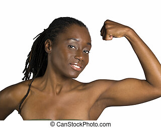Young black woman showing her bicep muscle