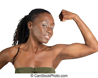 Young black woman showing strong flexed bicep
