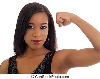Young black woman showing toned biceps portrait