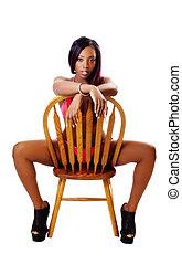 Young Black Woman Sitting Chair Red Bikini