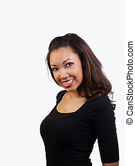 Young black woman smiling with braces on upper teeth