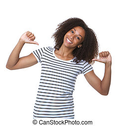 Young black woman smiling with thumbs sign