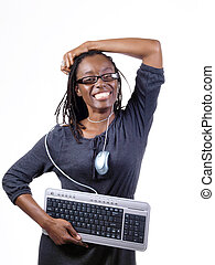 Young black woman with PC Mouse and Keyboard around neck